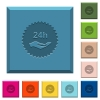 24h service sticker engraved icons on edged square buttons - 24h service sticker engraved icons on edged square buttons in various trendy colors