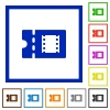 Movie discount coupon flat framed icons - Movie discount coupon flat color icons in square frames on white background