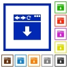 Browser scroll down flat framed icons - Browser scroll down flat color icons in square frames on white background