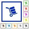 Hand truck with boxes flat framed icons - Hand truck with boxes flat color icons in square frames on white background