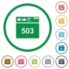 Browser 503 Service Unavailable flat icons with outlines - Browser 503 Service Unavailable flat color icons in round outlines on white background