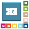 Indian Rupee discount coupon white icons on edged square buttons - Indian Rupee discount coupon white icons on edged square buttons in various trendy colors