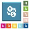 Yen Dollar money exchange white icons on edged square buttons - Yen Dollar money exchange white icons on edged square buttons in various trendy colors