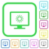 Adjust screen brightness vivid colored flat icons - Adjust screen brightness vivid colored flat icons in curved borders on white background