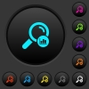 Search statistics dark push buttons with color icons - Search statistics dark push buttons with vivid color icons on dark grey background