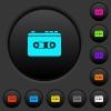 Vintage retro walkman dark push buttons with color icons - Vintage retro walkman dark push buttons with vivid color icons on dark grey background