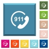 Emergency call 911 white icons on edged square buttons - Emergency call 911 white icons on edged square buttons in various trendy colors