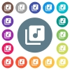Music library flat white icons on round color backgrounds. 17 background color variations are included. - Music library flat white icons on round color backgrounds