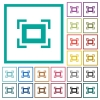 Full screen flat color icons with quadrant frames - Full screen flat color icons with quadrant frames on white background