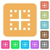 Inner borders rounded square flat icons - Inner borders flat icons on rounded square vivid color backgrounds.