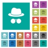 Incognito with glasses square flat multi colored icons - Incognito with glasses multi colored flat icons on plain square backgrounds. Included white and darker icon variations for hover or active effects.