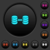 Syncronize databases dark push buttons with color icons - Syncronize databases dark push buttons with vivid color icons on dark grey background