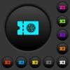 Pizzeria discount coupon dark push buttons with color icons - Pizzeria discount coupon dark push buttons with vivid color icons on dark grey background
