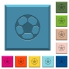 Soccer ball engraved icons on edged square buttons in various trendy colors - Soccer ball engraved icons on edged square buttons