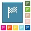 Race flag white icons on edged square buttons - Race flag white icons on edged square buttons in various trendy colors