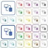 Syncronize data with database outlined flat color icons - Syncronize data with database color flat icons in rounded square frames. Thin and thick versions included.