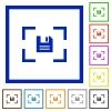 Camera save image flat framed icons - Camera save image flat color icons in square frames on white background