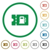 Fueling discount coupon flat icons with outlines - Fueling discount coupon flat color icons in round outlines on white background