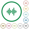 Sound wave flat color icons in round outlines on white background - Sound wave flat icons with outlines