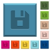 File stop engraved icons on edged square buttons - File stop engraved icons on edged square buttons in various trendy colors