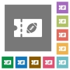 Rugby discount coupon flat icons on simple color square backgrounds - Rugby discount coupon square flat icons