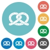 Salted pretzel flat round icons - Salted pretzel flat white icons on round color backgrounds