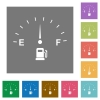 Fuel indicator flat icons on simple color square backgrounds - Fuel indicator square flat icons