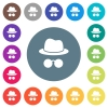 Incognito with glasses flat white icons on round color backgrounds - Incognito with glasses flat white icons on round color backgrounds. 17 background color variations are included.