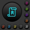 Scroll with certificate dark push buttons with color icons - Scroll with certificate dark push buttons with vivid color icons on dark grey background