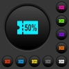 50 percent discount coupon dark push buttons with color icons - 50 percent discount coupon dark push buttons with vivid color icons on dark grey background