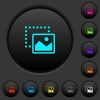 Drag image to bottom right dark push buttons with color icons - Drag image to bottom right dark push buttons with vivid color icons on dark grey background