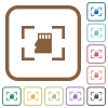 Camera memory card simple icons - Camera memory card simple icons in color rounded square frames on white background