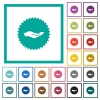 Hand in sticker flat color icons with quadrant frames - Hand in sticker flat color icons with quadrant frames on white background