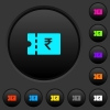 Indian Rupee discount coupon dark push buttons with color icons - Indian Rupee discount coupon dark push buttons with vivid color icons on dark grey background