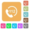 Emergency call 112 rounded square flat icons - Emergency call 112 flat icons on rounded square vivid color backgrounds.