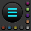 Menu dark push buttons with color icons - Menu dark push buttons with vivid color icons on dark grey background