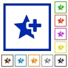 Add star flat framed icons - Add star flat color icons in square frames on white background