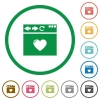 Browser favorite flat icons with outlines - Browser favorite flat color icons in round outlines on white background