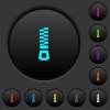 Vertical zipper dark push buttons with color icons - Vertical zipper dark push buttons with vivid color icons on dark grey background