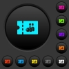 Bowling discount coupon dark push buttons with color icons - Bowling discount coupon dark push buttons with vivid color icons on dark grey background
