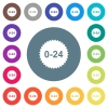 24 hours sticker flat white icons on round color backgrounds - 24 hours sticker flat white icons on round color backgrounds. 17 background color variations are included.