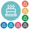 Birthday cake flat round icons - Birthday cake flat white icons on round color backgrounds