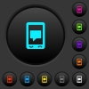 Mobile chat dark push buttons with color icons - Mobile chat dark push buttons with vivid color icons on dark grey background