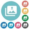 Upload multiple images flat round icons - Upload multiple images flat white icons on round color backgrounds