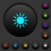 Sun dark push buttons with vivid color icons on dark grey background - Sun dark push buttons with color icons
