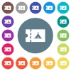 Camping discount coupon flat white icons on round color backgrounds - Camping discount coupon flat white icons on round color backgrounds. 17 background color variations are included.