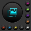 Drag image to top right dark push buttons with color icons - Drag image to top right dark push buttons with vivid color icons on dark grey background