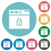 Browser secure flat round icons - Browser secure flat white icons on round color backgrounds