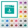 Browser anchor flat color icons with quadrant frames - Browser anchor flat color icons with quadrant frames on white background