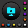 FTP tag dark push buttons with color icons - FTP tag dark push buttons with vivid color icons on dark grey background